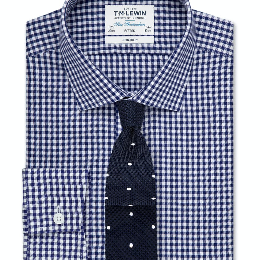 Non-Iron Navy Gingham Fitted Shirt 0