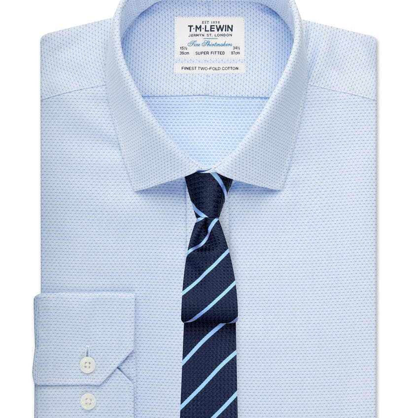 Super Fitted Blue Dobby Shirt 0