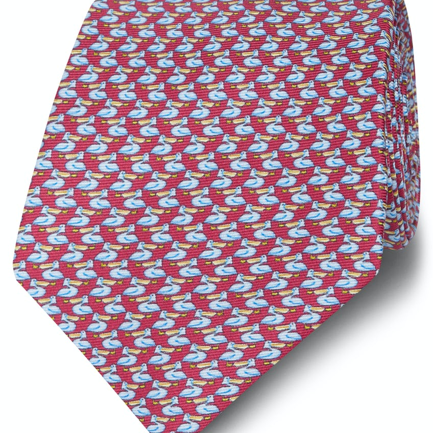 Made in Italy Wide Burgundy and Blue Pelican Silk Tie 0