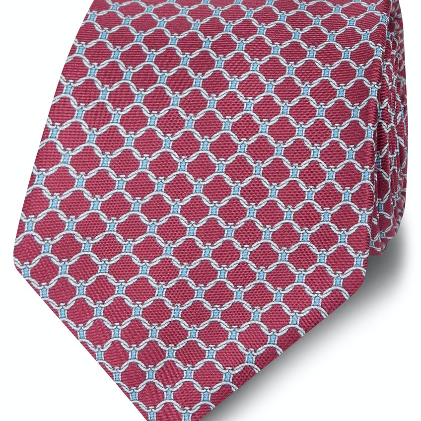 Made in Italy Wide Burgundy, Blue and White Chain Link Silk Tie 0