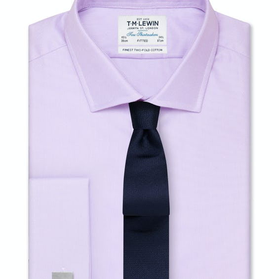 Fitted Lilac Oxford Double Cuff Shirt 0