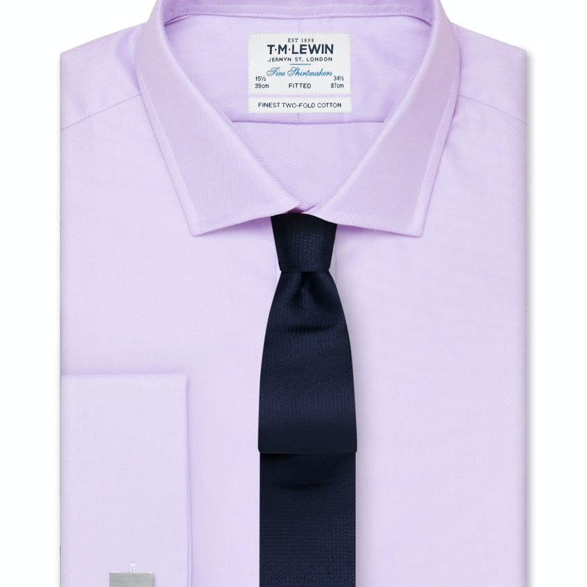Fitted Lilac Oxford Double Cuff Shirt