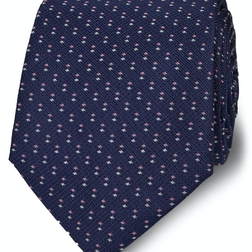 Wide Navy and Pink Double Dash Silk Tie 0