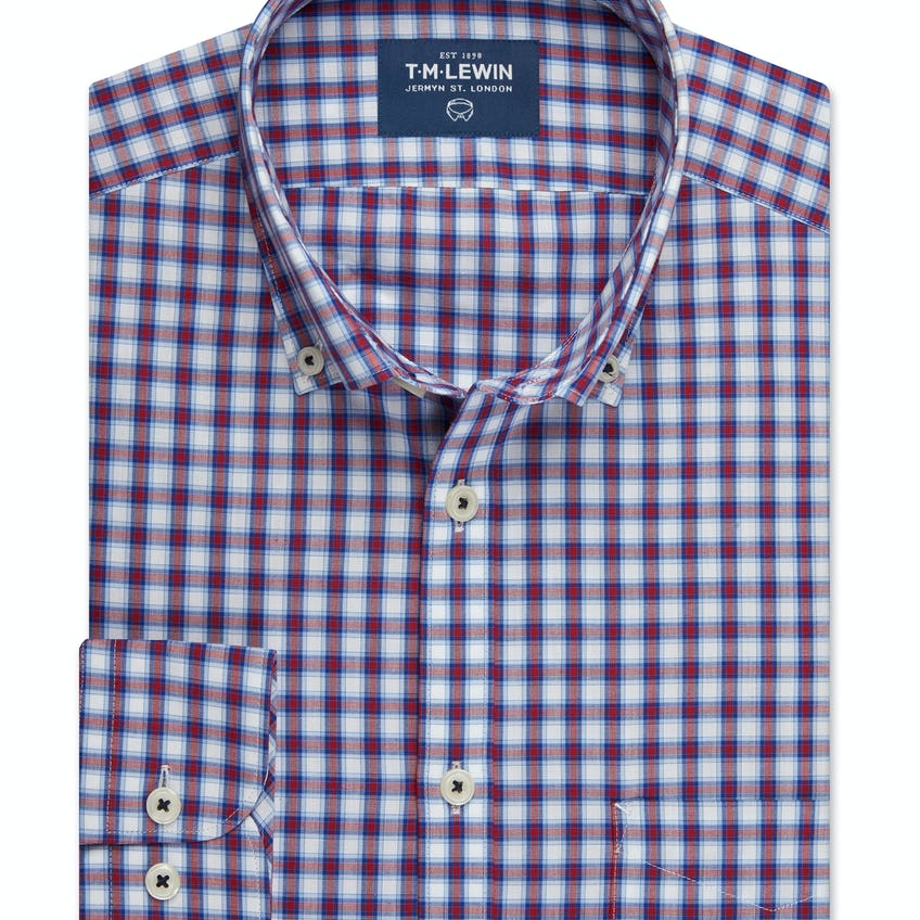 Slim Fit Red and Navy Bold Check Shirt 0