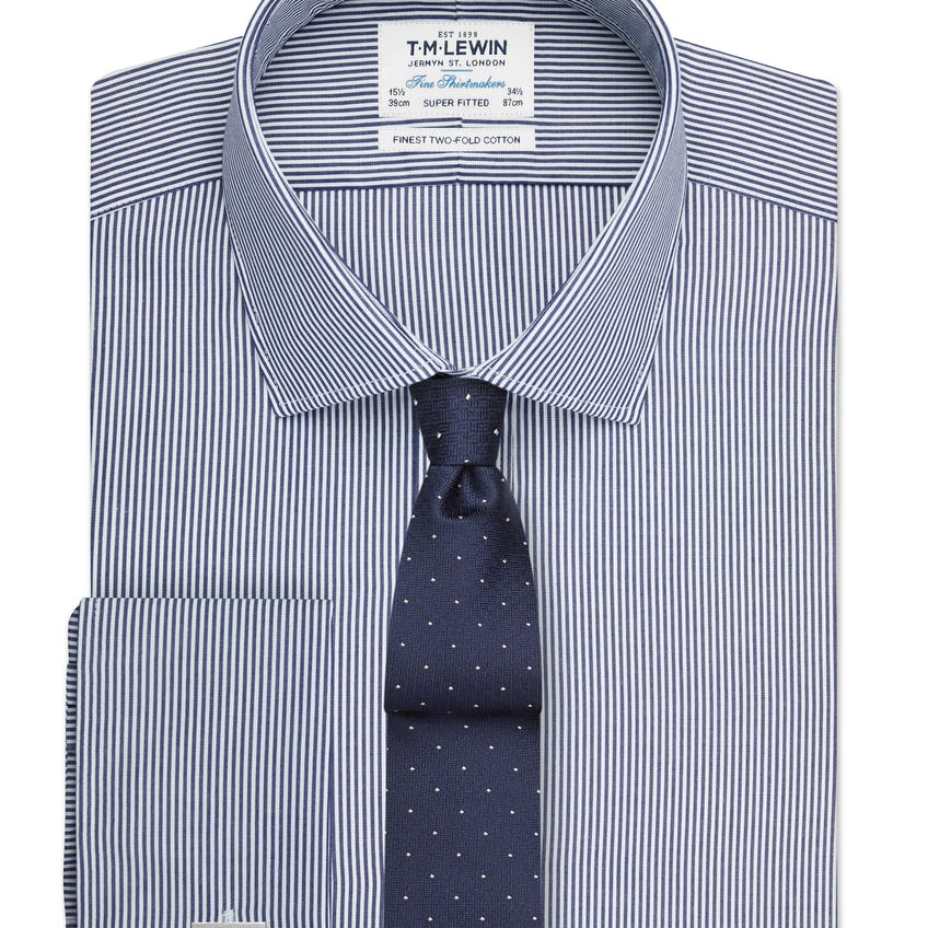 Super Fitted Navy Bengal Stripe Double Cuff Shirt 0