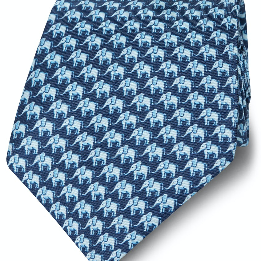 Made in Italy Wide Navy and Blue Elephant Silk Tie 0