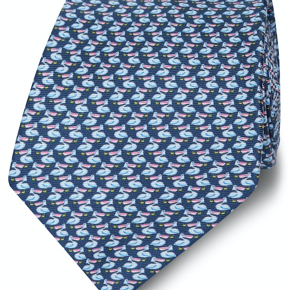 Made in Italy Wide Navy and Blue Pelican Silk Tie 0