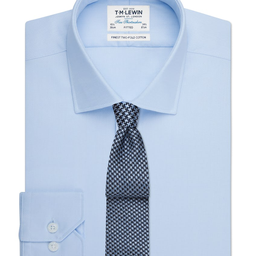Sky Blue Twill Fitted Button Cuff Shirt