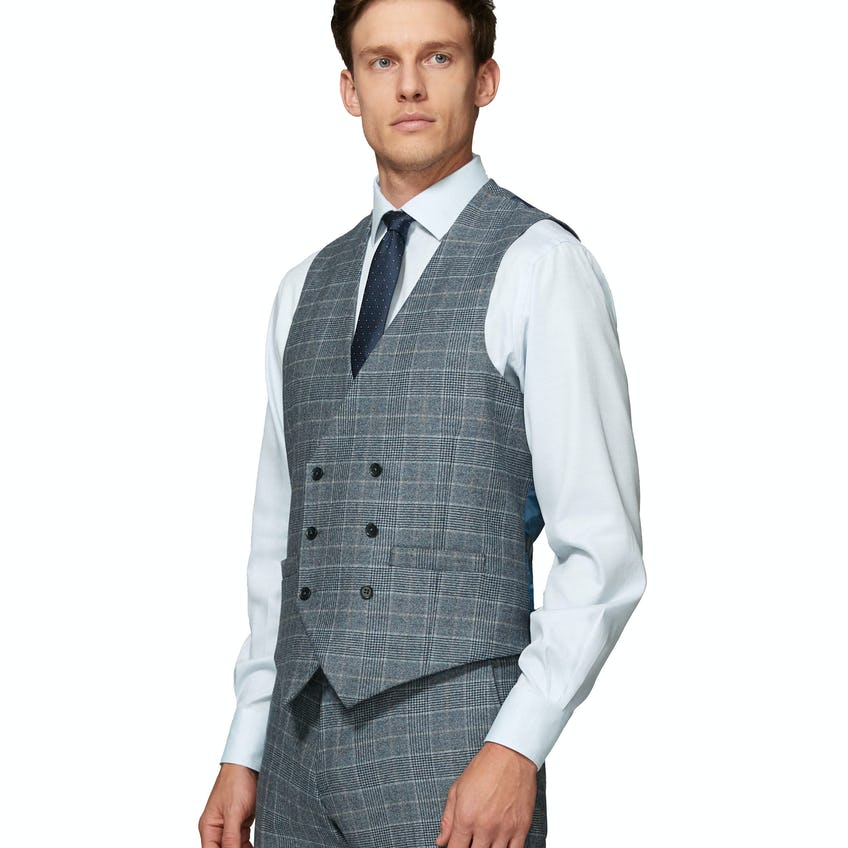 Hampstead Wool Silk Cashmere Slim Fit Blue and Taupe Check Waistcoat 0