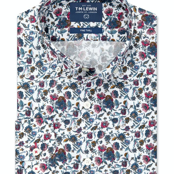 Slim Fit Pink and Navy Spring Floral Shirt 0