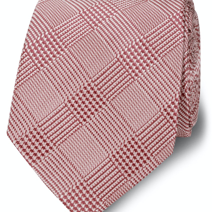 Wide Pink Prince of Wales Check Silk Tie 0