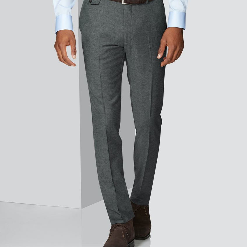 Connery Tailored Fit Grey Wool Stretch Trouser