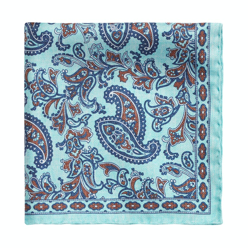 Teal Paisley Textured Silk Pocket Square 0