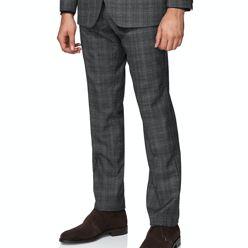 Crossley Infinity Slim Fit Grey Check Trousers 0