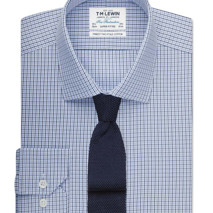 Super Fitted Blue Small Check Shirt 0