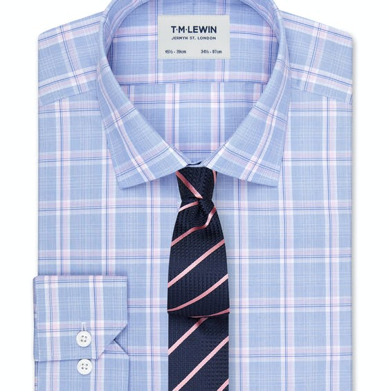 Slim Fit Blue and Pink Large Check Dual Cuff Shirt 0