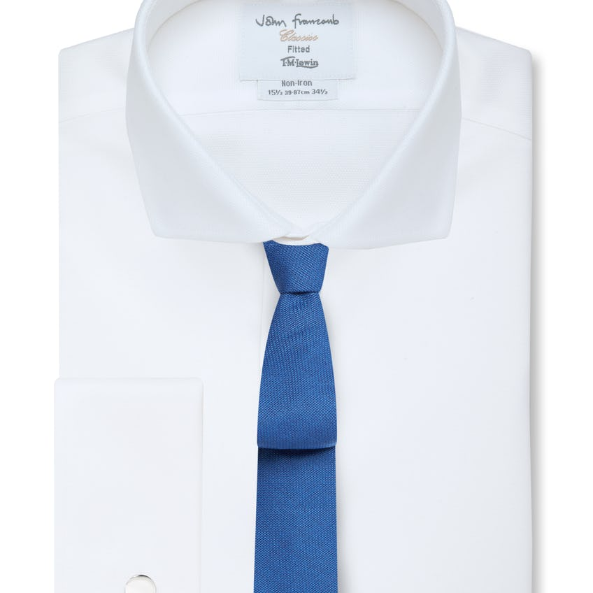 Non-Iron White Oxford Cutaway Collar Fitted Shirt 0