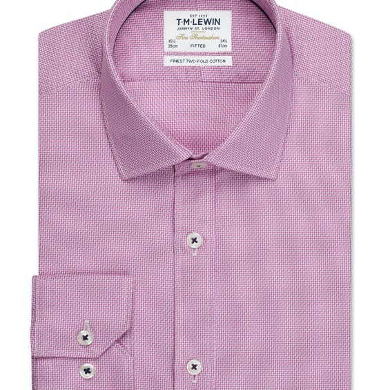 Aztec Weave Fitted Magenta Single Cuff Shirt 0