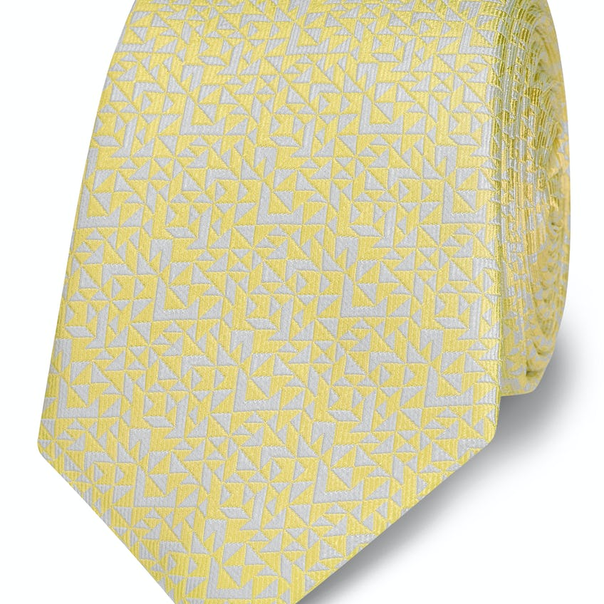 Yellow Abstract Triangle Silk Slim Tie 0