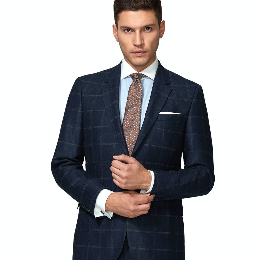 Jubilee Wool Silk Cashmere Slim Fit Navy and Beige Check Jacket 0
