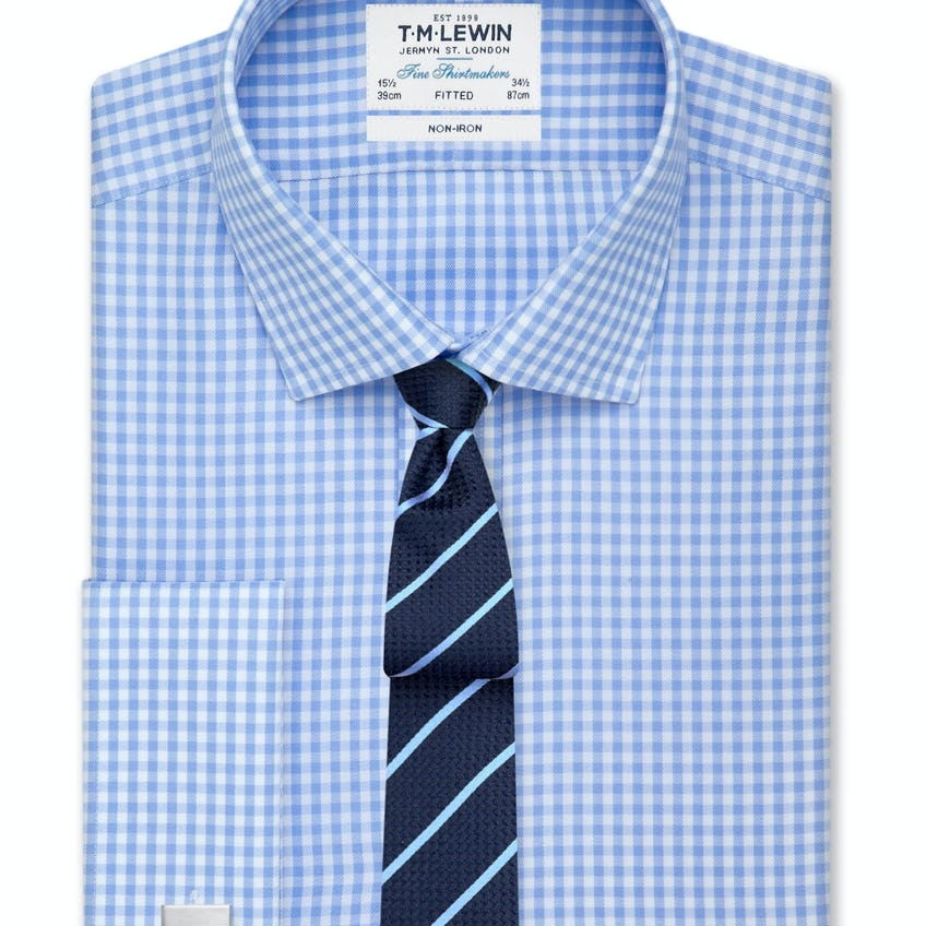 Non-Iron Blue Gingham Fitted Shirt 0