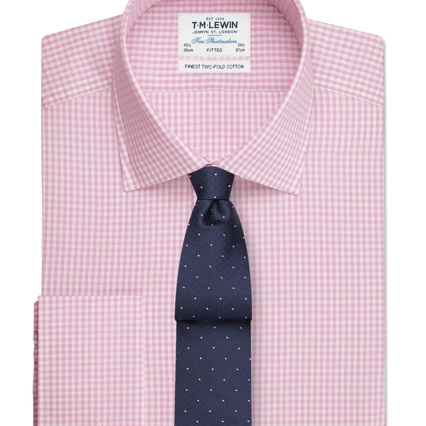 Fitted Pink Gingham Double Cuff Shirt 0