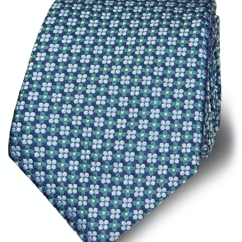 Green and Blue Floral Jacquard Silk Wide Tie 0