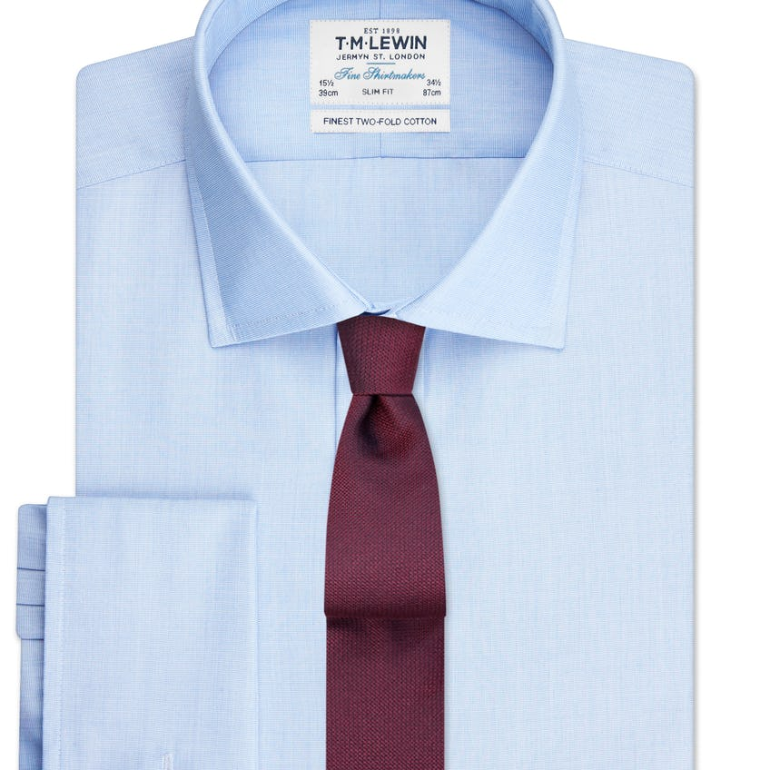 Slim Fit Blue End-on-End Double Cuff Shirt
