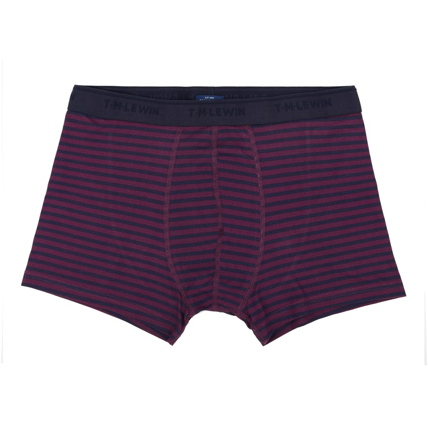 Navy and Burgundy Stripe Cotton Blend Boxers 0