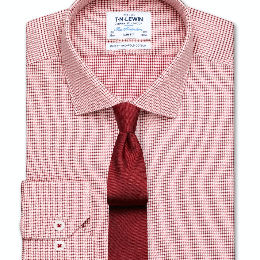 Slim Fit Red Dogtooth Basket Weave Shirt – Button Cuff 0