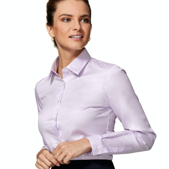 Fitted Lilac Twill Weave Shirt 0