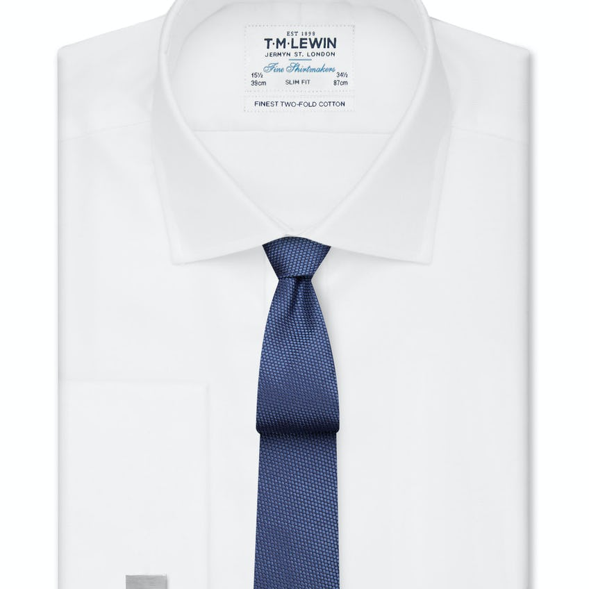 White Twill Slim Fit Double Cuff Shirt