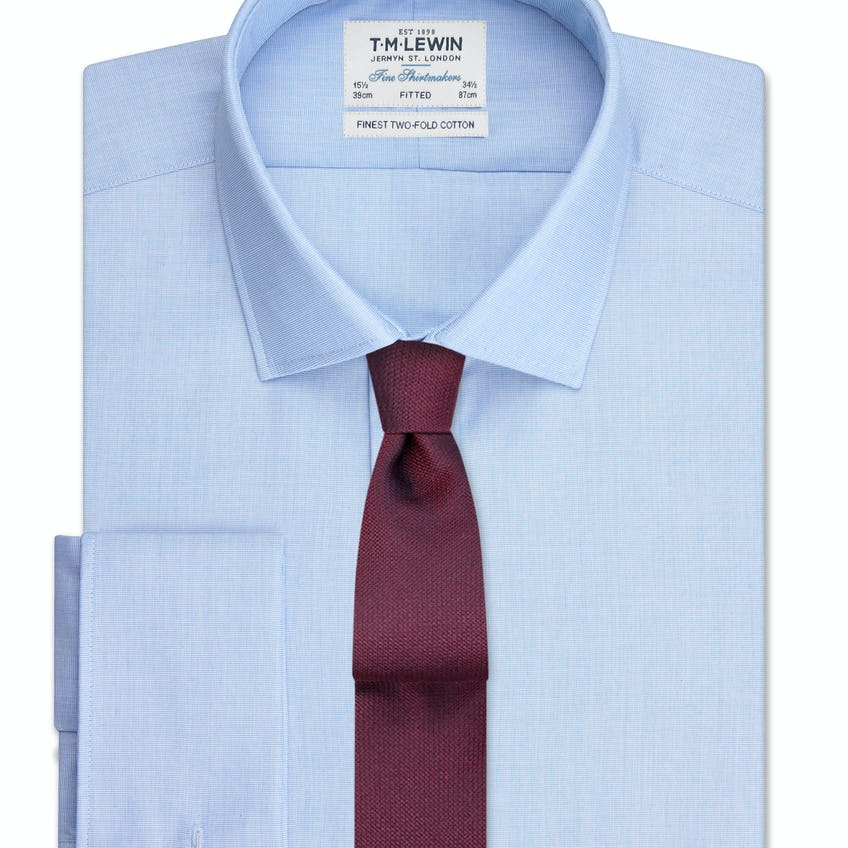 Fitted Light Blue End-on-End Double Cuff Shirt 0