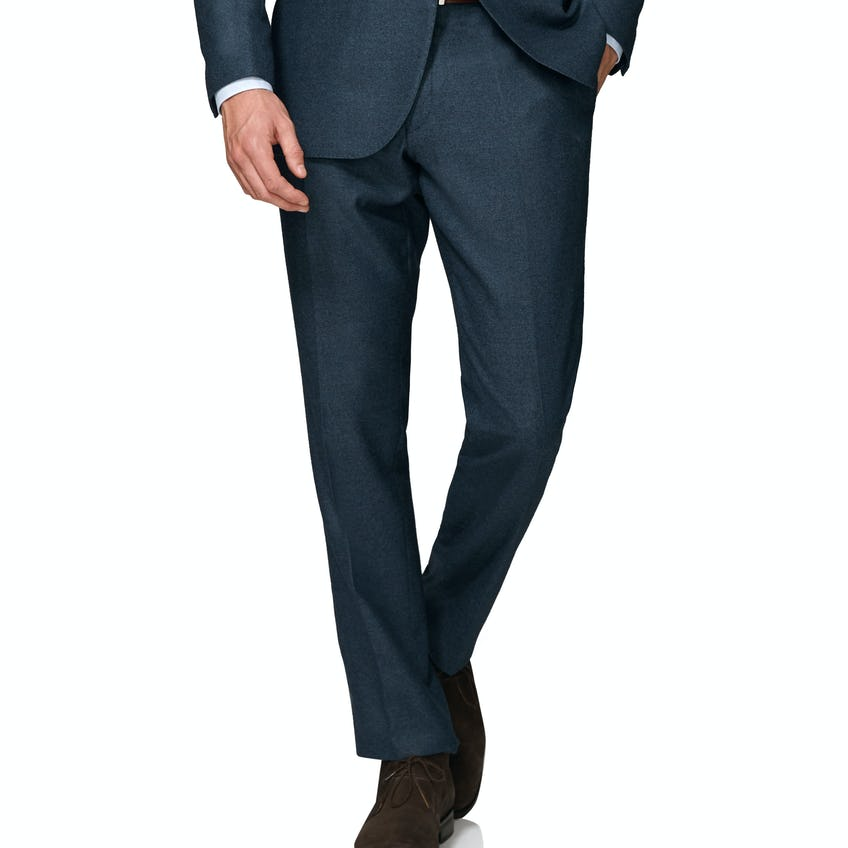 Hyde Wool Silk Cashmere Slim Fit Navy Textured Trousers 0