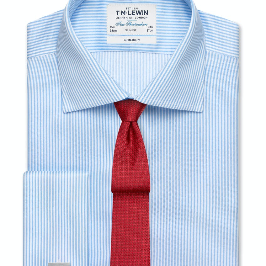 Non-Iron Blue Bengal Stripe Slim Fit Shirt