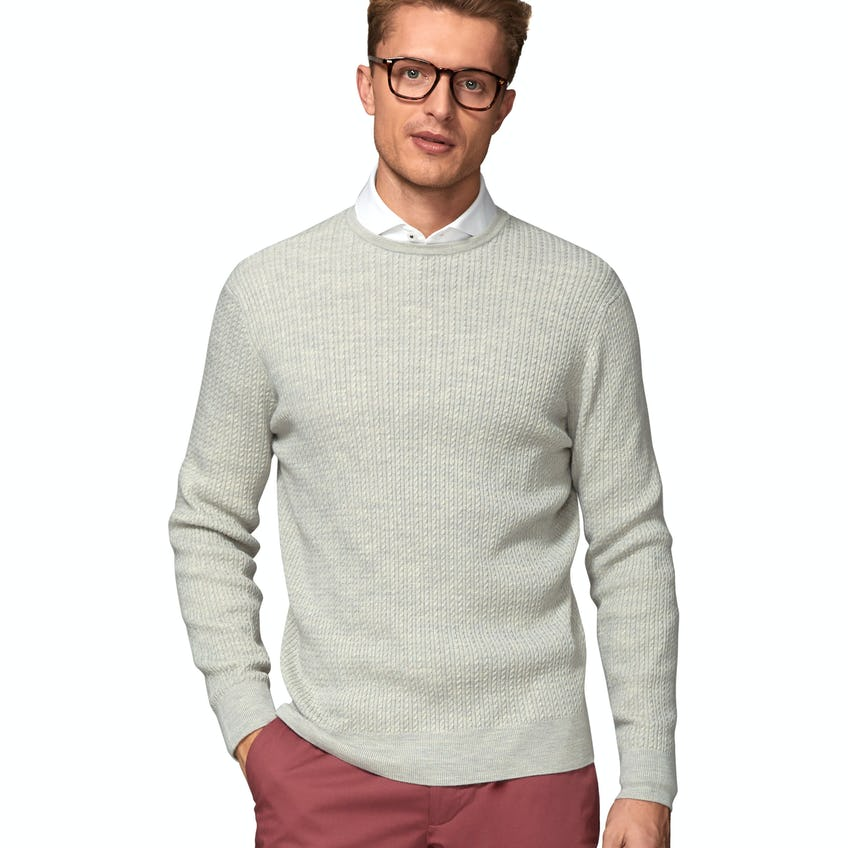 Drury Fine Cable Knit Slim Fit Soft Grey Crew Neck Jumper