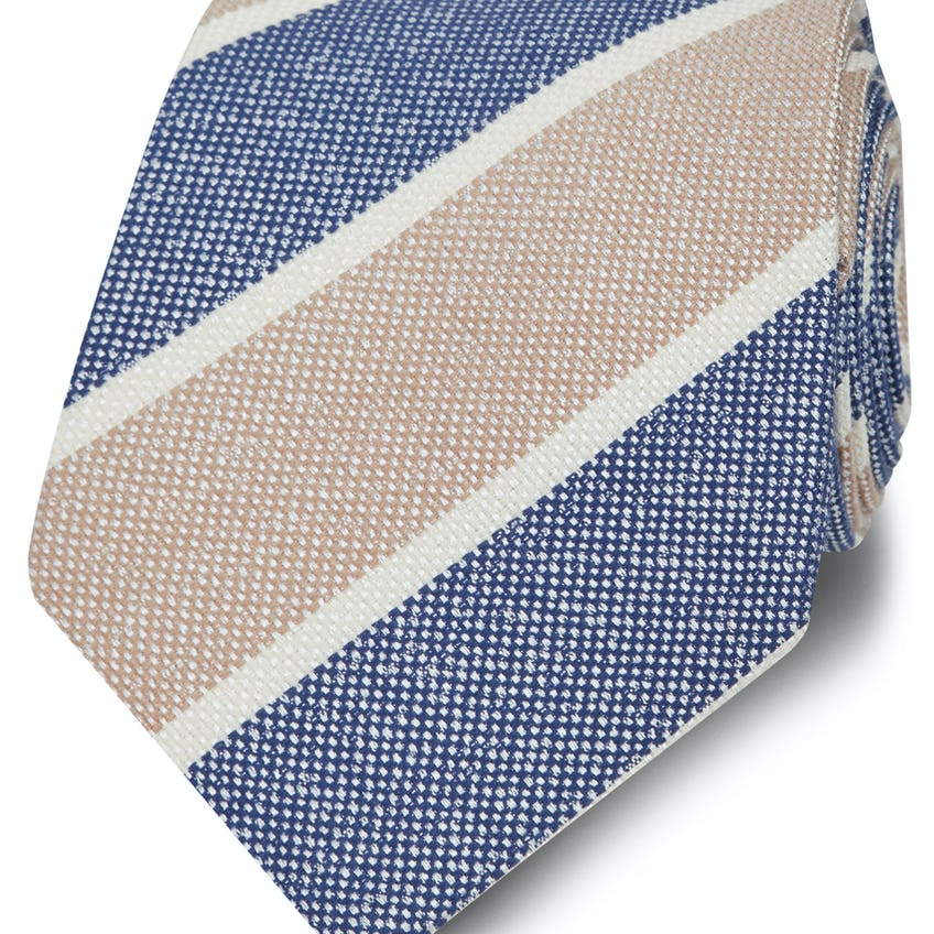 Wide Blue and Champagne Stripe Wool Silk Tie 0