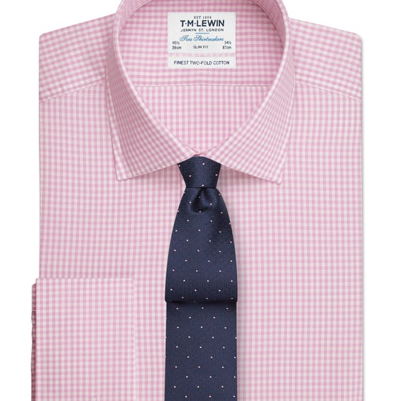 Pink Gingham Slim Fit Double Cuff Shirt 0