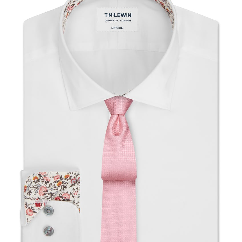 Slim Fit White Shirt Made with Liberty Fabric Trim 0
