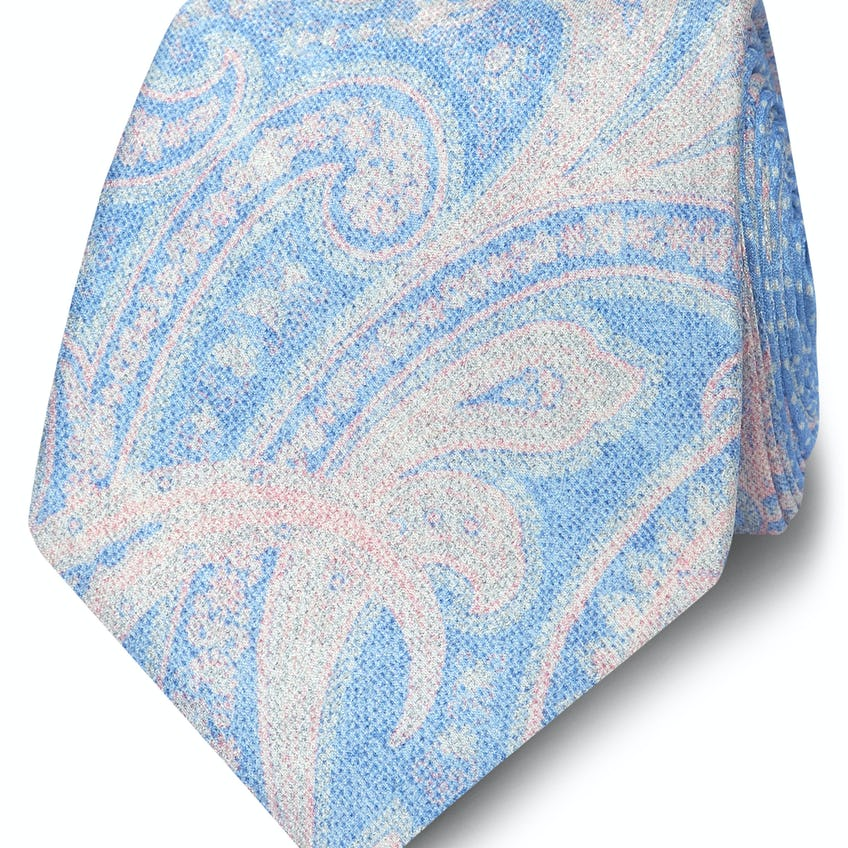 Occasionwear Wide Blue and Pink Paisley Silk Tie 0