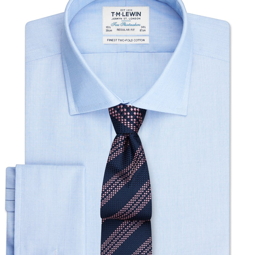 Regular Fit Blue End-On-End Double Cuff Shirt 0