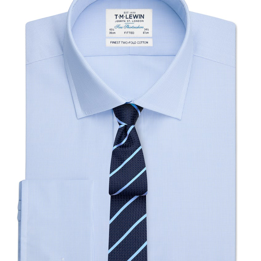 Fitted Blue Micro Check Double Cuff Shirt 0