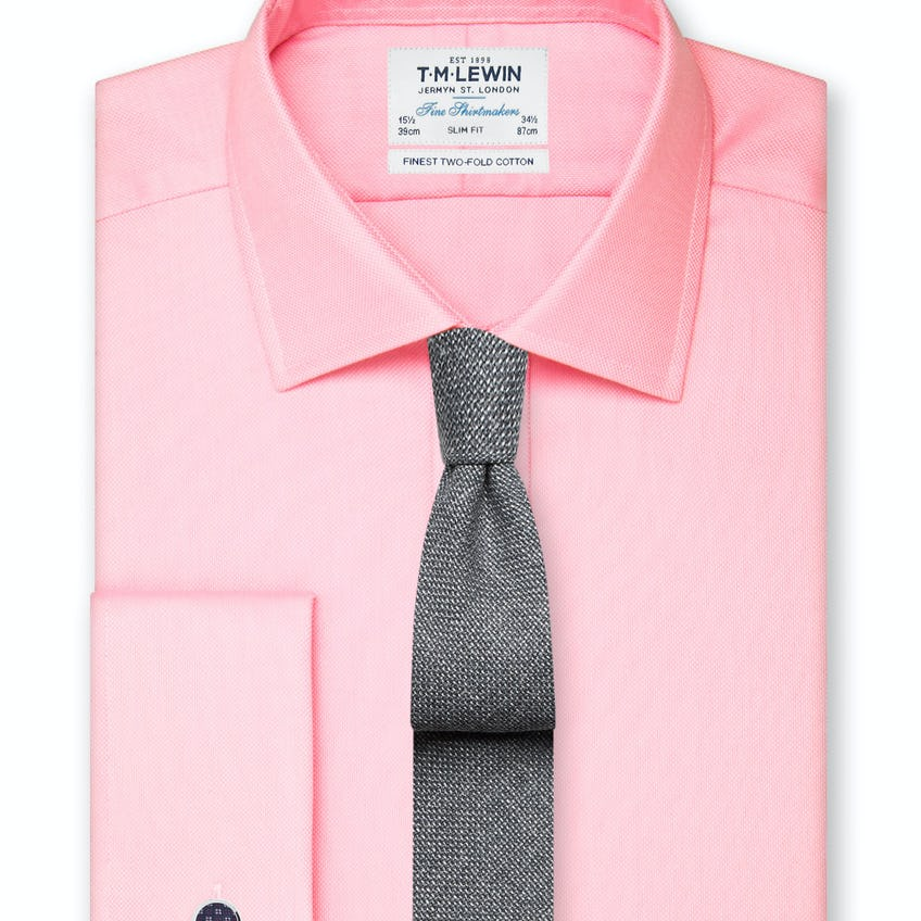 Slim Fit Pink Oxford Double Cuff Shirt 0