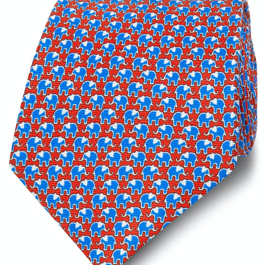 Printed Royal Blue and Red Elephant Silk Wide Tie 0