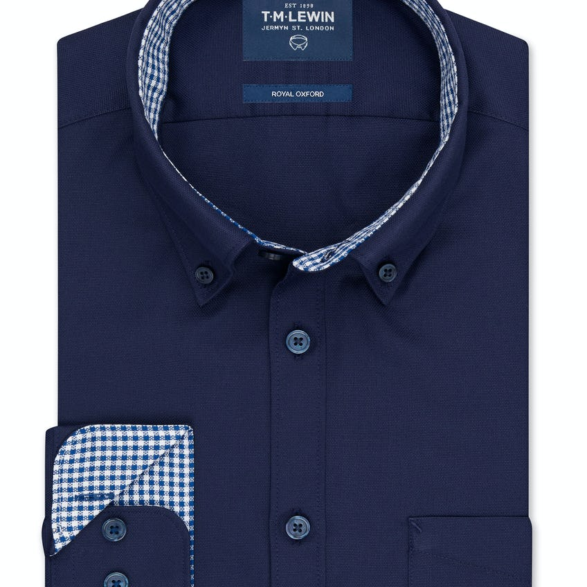 Royal Oxford Slim Fit Navy Shirt