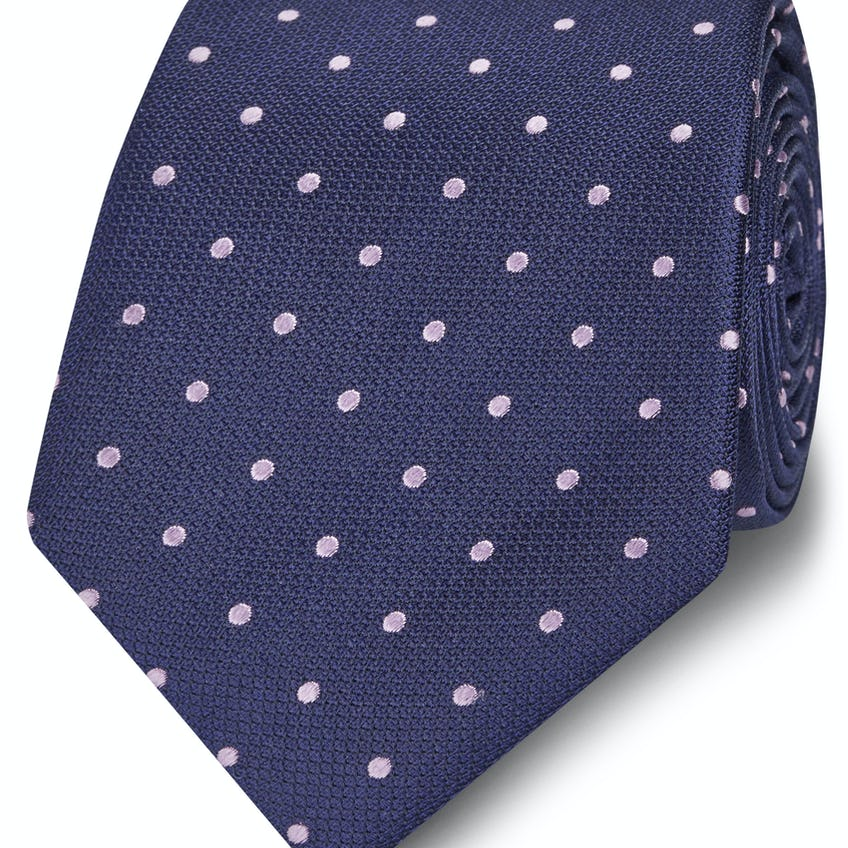 Wide Navy and Lilac Spot Silk Tie 0