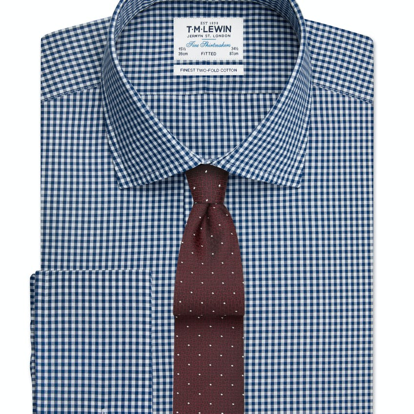 Navy Gingham Fitted Double Cuff Shirt 0