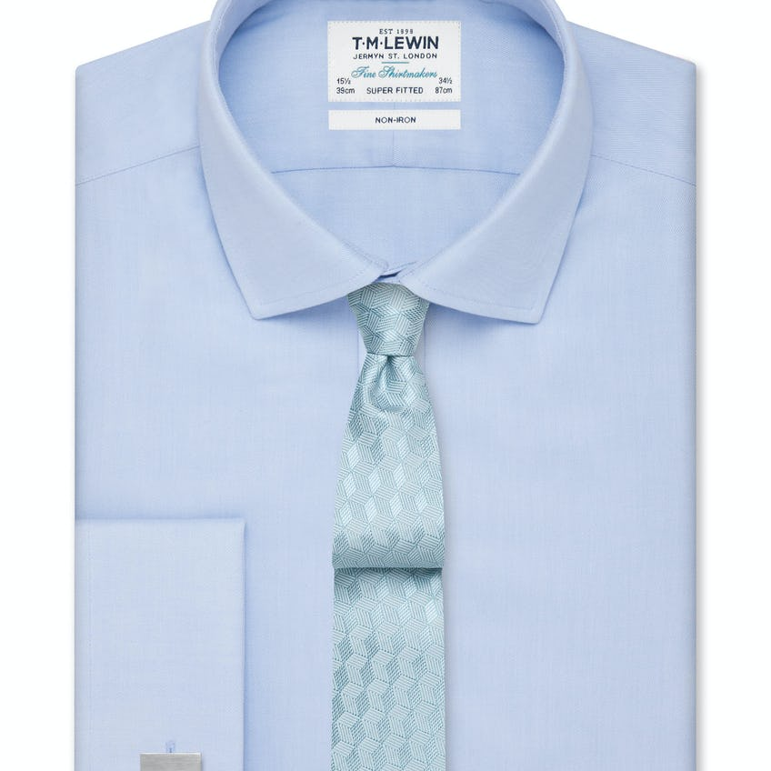 Non-Iron Super Fitted Sky Blue Twill Shirt
