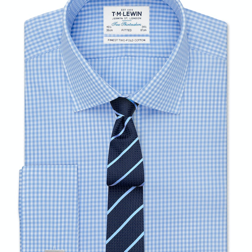 Fitted Blue Gingham Shirt 0