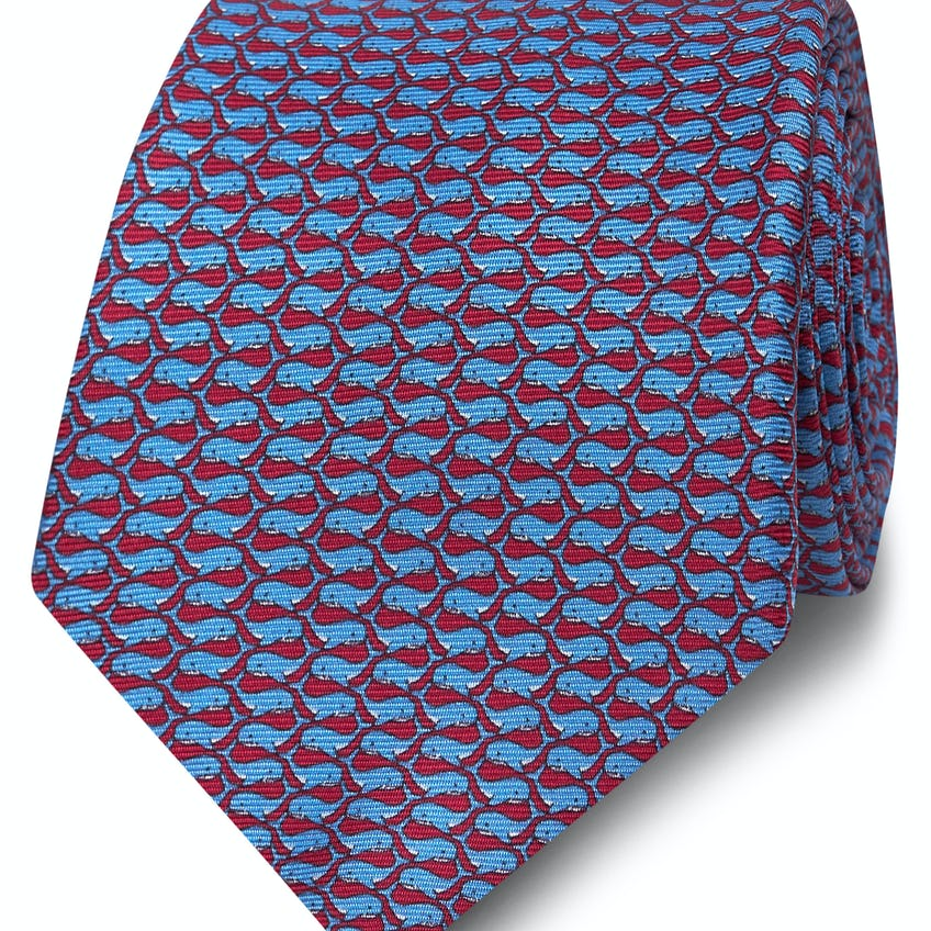 Wide Burgundy and Blue Whale Print Silk Tie 0